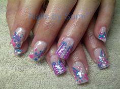 Funky*blue & pink Dots & stripes... by SuMi - Nail Art Gallery nailartgallery.nailsmag.com by Nails Magazine www.nailsmag.com #nailart