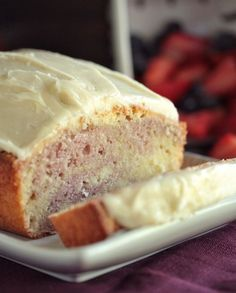 Starbucks Copycat Raspberry Swirl Pound Cake With Cream Cheese Frosting