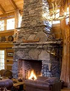 Tiered river stone fireplace | For the Home | Pinterest | River ...