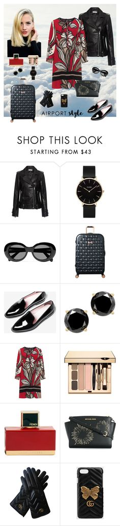 """Chic Winter Airport Style"" by kategr ❤ liked on Polyvore featuring Holga, IRO, CLUSE, Acne Studios, Ted Baker, Everlane, navabi, Clarins, Fendi and MICHAEL Michael Kors"