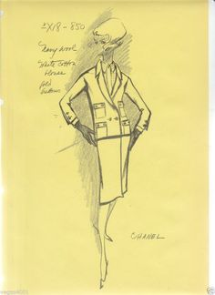 THREE ORIGINAL COCO CHANEL FASHION STATS FROM THE 50'S