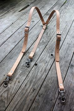 Handmade Leather Suspenders Veg Tan Natural Steampunk Gentlemen with Stainless Hardware