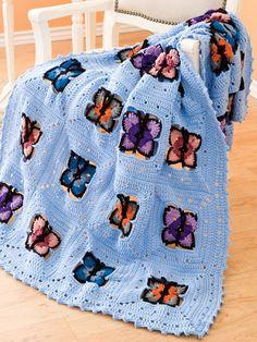 Butterfly Afghan Crochet Blanket Free Pattern
