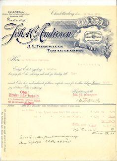 Faktura Joh. H. Andresen Tiedemanns tobakksfabr, Charlottenberg, Sverige 1912