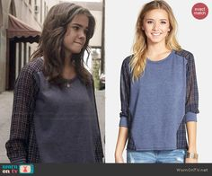 Callie's blue sweatshirt with plaid back on The Fosters. Outfit Details: http://wornontv.net/46306/ #TheFosters