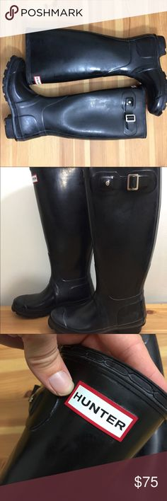 "Hunter Original Tall Gloss Rain Boot Wellie EUC. Worn a few times. Gloss finish - little to no bloom (white cast). Fits US 5. 16"" tall. Hunter Shoes Winter & Rain Boots"
