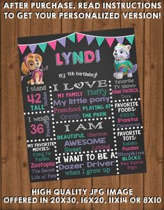 Chase & Marshall (or any two pups you choose!) make this chalk board perfect for any little boy or girls Paw Patrol themed birthday! Files are a standard 16x20 inch, but can be made any dimension you desire. Perfect for hanging at your little super heros party, or holding to take a picture with! You print yourself! View the entire Paw Patrol Collection here: https://www.etsy.com/shop/TheRiteInvite?ref=search_shop_redirect&section_id=20775963 If you purchase more than one of these items at…