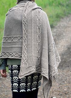 Inis Oirr - Cabled Shawl Knitting Pattern. This pattern will be released August 20, 2016