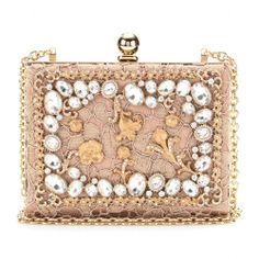 Dolce & Gabbano CRYSTAL-EMBELLISHED LACE BOX CLUTCH