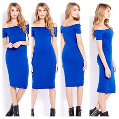 """Forever 21 Sz M.  Blue """"Must Have Midi Dress"""" Royal Blue Sz M  In a substantial stretch knit, this bodycon dress is cut at a midi length with off-the-shoulder short sleeves, unlined, lightweight  95% cotton  5% spandex. Imported.  Machine wash Forever 21 Dresses Midi"""