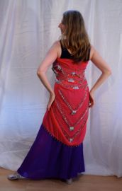 Sarong gordel FUCHSIA / FEL ROZE ROSE, versierd met haakwerk,  ZILVER - XLarge, XLong - Chiffon Sarong hipscarf FUCHSIA BRIGHT PINK, crocheted decorated with SILVER beads and coins