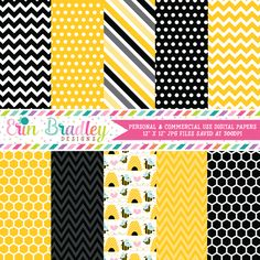 Bumble Bees Digital Paper Pack – Erin Bradley/Ink Obsession Designs