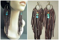 Long leather earrings: Long brown deer skin leather fringe dangles from brass hoops with genuine turquoise, brass, and quartz crystal adornments. Over 40 strands of leather in graduating lengths fill out these truly unique, one of a kind statement earrings. Tribal, bohemian, hippie, or high fashion, these striking primal adornments are the perfect compliment to any bold and daring ensemble! They measure 12.25 inches long from the earring wire to the longest tip of fringe. Brass hoops measure…