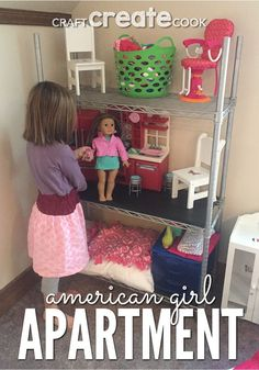 Your kids and American Girl dolls will love this easy DIY American Girl doll Apartment! via /CraftCreatCook1/