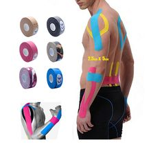 2,5 cm x 5 mt Kinesiologie Kinesio Tape Rollen Cotton Elastic Sport Muscle patch Tapeverband Physio Strain Injury unterstützung