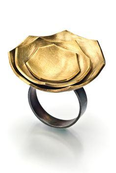 eggshell ring- brass and sterling silver size 8.