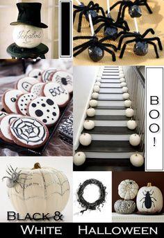 black and white halloween decor decorating