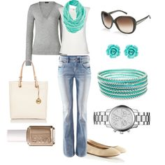 turquoise, grey, and white. one of my fave color combos to wear.