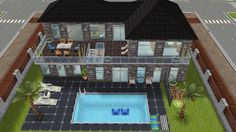 Rear exterior view of single male house - in my Sims Freeplay