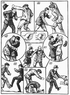 """""""An illustration from The Wrinkle Book, edited by Archibald Williams and published by Thomas Nelson & Sons Ltd., London. 1921"""" (on Bartitsu.org)"""