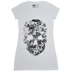 Camiseta feminina SKULL, modelagem longa