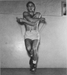 "Marlon Brando skips rope training for the Fred Zinneman film ""The Men""(1950)."