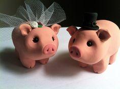 Pig Love Wedding Cake Topper