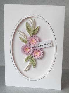 New home card, handmade, quilled, quilling. via Etsy.