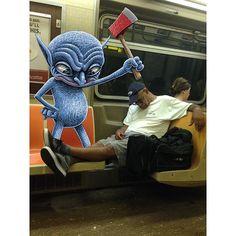 Etiquette Gremlin. #subwaydoodle #subway #doodle #swd #etiquettegremlin #etiquette #gremlin #ftrain #inhisdefensehisshoesarentontheseat