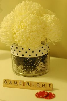 Game Night Centerpiece. So cute for Bunco. Game we played during Lent because we couldn't have dances!