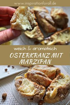 Easter wreath with marzipan and almond filling - simple recipe - Leckere Rezepte von inspirationforall. Sweet Cookies, Food Tasting, Cake Flavors, Easter Brunch, Easter Wreaths, Yummy Eats, Easter Recipes, Cakes And More, Relleno
