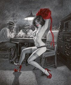 Poker | Greg Hildebrandt Pin-Up artist #USA #Vintage #Girls #Pin-Ups #deFharo #Posters
