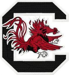 Gamecock Block C  logo machine embroidery design. Machine embroidery design. www.embroideres.com