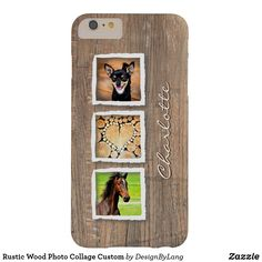 Rustic Wood Photo Collage Custom Barely There iPhone 6 Plus Case