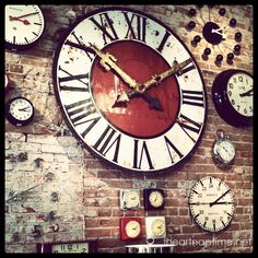 love this wall of clocks.  I would like to do a wall of clocks and compasses.  Tribute to Covey, watch the compass, not the clock.