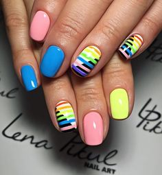 Stylish 47 Beautiful Nail Art Designs Ideas For Brides Nail Art Designs, Pedicure Designs, Colorful Nail Designs, Colourful Nails, Pedicure Ideas, Pedicure Colors, Pedicure Nail Art, Nail Colors, French Pedicure