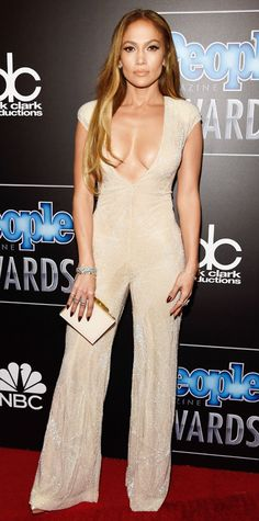 People Magazine Awards: Jennifer Lopez in a plunging Naeem Khan jumpsuit and Charlotte Olympia shoes. #InStyle