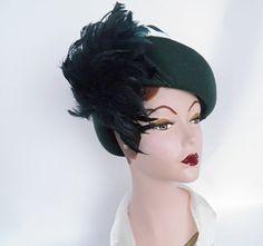 1940s tilt slouch hat 40s vintage green hat by TheVintageHatShop