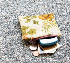 Yellow Floral Zippered Coin Purse Eco Friendly by blissjoybull via etsy, $12.00