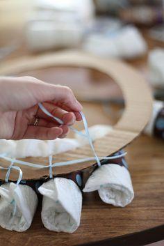 DIY Diaper Wreath {Babyshower Gift} | Jennifer Amie Designs