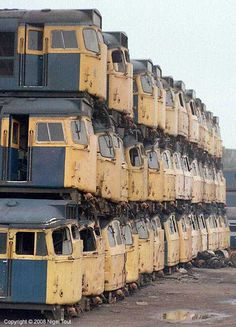 Scrapped diesel locomotives.