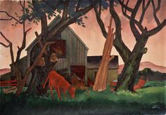 "Emil Bisttram (1895-1976), ""Old Barn"", 1928, watercolor on paper"