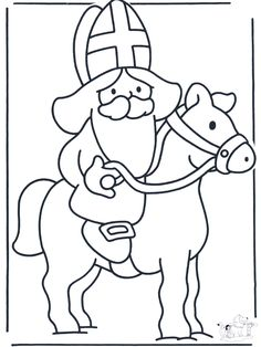 Kleurplaat: kleurplaat sint - Google zoeken Coloring Pages For Kids, Coloring Sheets, St Nicholas Day, Celebration Around The World, Jesus Birthday, Toddler Activities, Kids Playing, Cute Pictures, Christmas Crafts