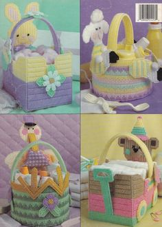 Baskets for Baby, Leisure Arts Plastic Canvas Pattern Booklet 1453 Shower Gifts - Plastic Canvas Patterns
