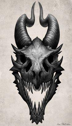 Dragon Skull Art Print by katiegrimm - Dragon Skull by Kate Pfeilschie . - Dragon Skull Art Print by katiegrimm – Dragon Skull by Kate Pfeilschiefter More – - Fantasy Dragon, Dragon Art, Dragon Bones, Fantasy Kunst, Fantasy Art, Tattoo Crane, Dragon Medieval, Dragons, Arte Obscura