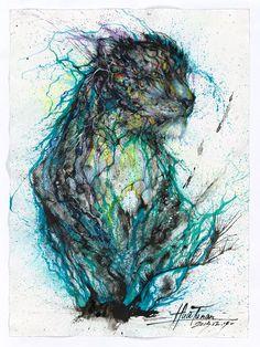 Blue Ink Leopard by Hua Tunan
