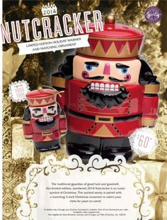 The Nutcracker Scentsy warmer! Only available through Nov 7th, 2014. Comes with matching ceramic ornament.  https://dianadelarosa.scentsy.us