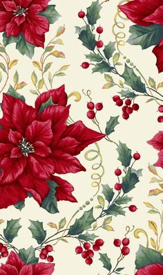 , Holiday Trimmings by Blank Quilting, The Blank Quilting Corporation Poinsettia Flower, Christmas Flowers, Christmas Fabric, Christmas Balls, Christmas Art, Beautiful Christmas, Vintage Christmas, Christmas Wreaths, Christmas Decorations