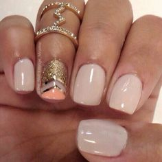 Nude Creme Nails with Gold Glitter and Peach Combo Accents