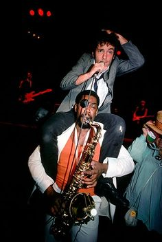 Clarence Clemons carries Bruce Springsteen on his shoulder during a performance in RELATED - Story : E Street Band& Clarence Clemons Dies at 69 - Story : Bruce Springsteen on Clarence Clemons: & Loss is Immeasurable& Easy Listening Music, Good Music, Elvis Presley, Bruce Springsteen Quotes, The Boss Bruce, E Street Band, Bob Seger, Big Men, New Pictures